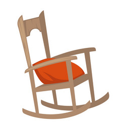 rocking chair of wood with pillow on seat vector image
