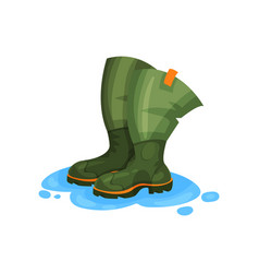 Rubber boots of fisherman outdoor traveling vector