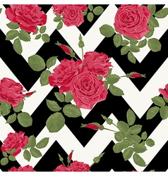Seamless flower red roses pattern vector