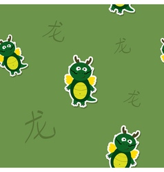 Seamless pattern with Chinese Zodiac Dragon Sign vector image