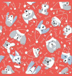 Seamless pattern with dogs in santa hat and snow vector