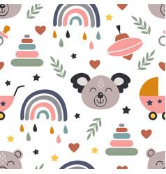 seamless pattern with koala and baicons vector image