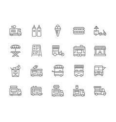 set food truck line icons hot dog sandwich vector image