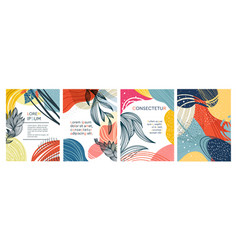 set four abstract colorful foliate designs vector image