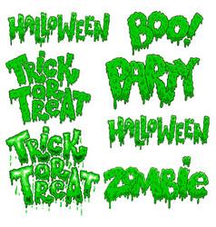 set halloween lettering phrases design element vector image