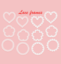 set of white lace frames of various shapes ring vector image