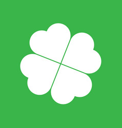 Shamrock silhouette - white four leaf clover icon vector