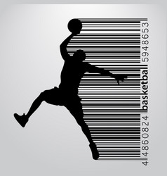 Silhouette of a basketball player and barcode vector