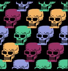 Skull cartoon seamless pattern skeleton head vector