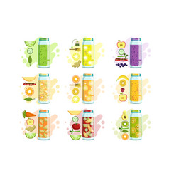 smoothie recipe set vector image