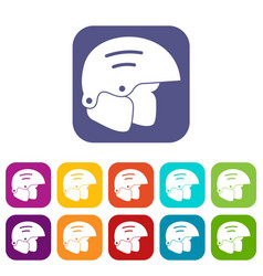 Snowboard helmets icons set vector