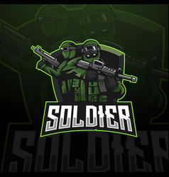soldier mascot logo vector image