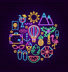 Summer vacation neon concept vector