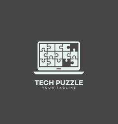 tech puzzle logo vector image
