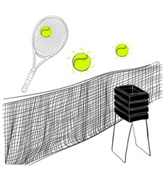 tennis set of rackets ball vector image