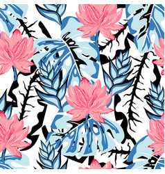 Tropical lotus pattern vector