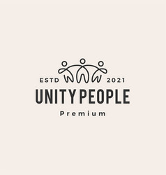 Unity people hipster vintage logo icon vector