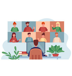 virtual meeting man chatting with group people vector image