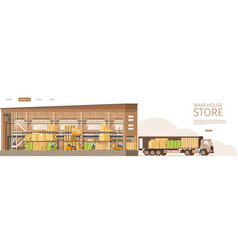 Warehouse open store delivering truck infront vector