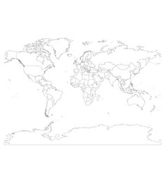 World map with country borders thin black outline vector