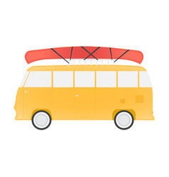 yellow bus for travel with canoe vector image