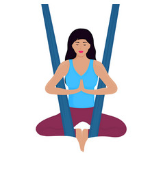 Young woman meditates in lotus position in a vector