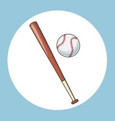 baseball bat and ball equipment icon vector image