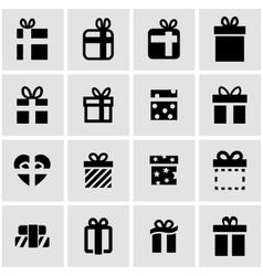 black gift icon set vector image vector image