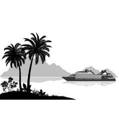 landscape with ship palms and mountains vector image vector image