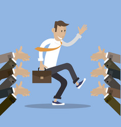 man celebrates success gets applause vector image vector image