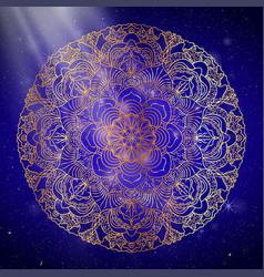 mandala gold round ornament pattern on blue vector image