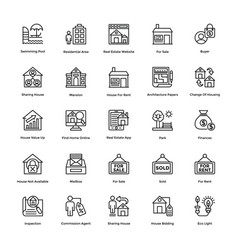real estate line icons set 7 vector image vector image