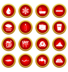 Water icon red circle set vector