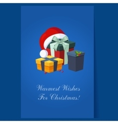 Christmas Presents and Hat Winter vector image