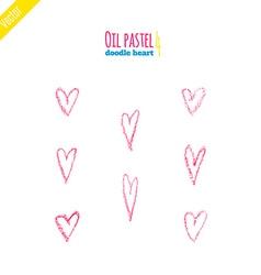 Hand drawn oil pastel hearts vector image vector image