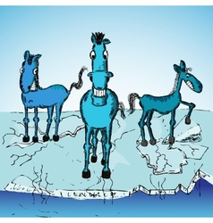 Horse trio on ice vector image vector image