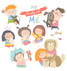 set of characters children with pets vector image