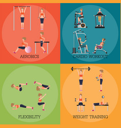 set of fitness aerobic strength and body shaping vector image vector image