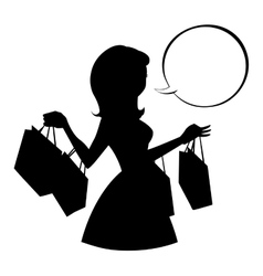 Shopping girl silhouette with empty speech bubble vector image