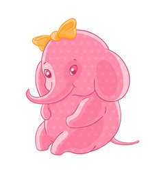 The blushing pink girl elephant in the hearts and vector