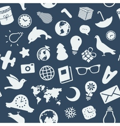 The pattern of various objects and symbols vector image vector image