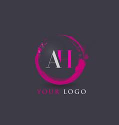ah letter logo circular purple splash brush vector image