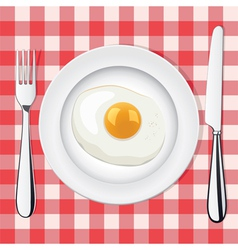 egg on a plate vector image vector image