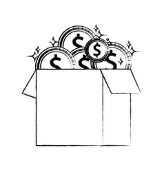figure box open with coins cash money vector image vector image
