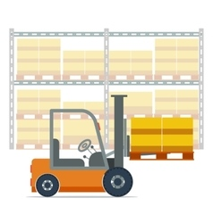 Forklift working in a warehouse vector image