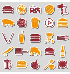 hamburger theme modern simple icons color stickers vector image vector image