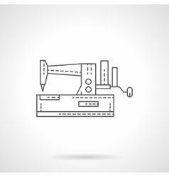 Manual sewing machine flat thin line icon vector
