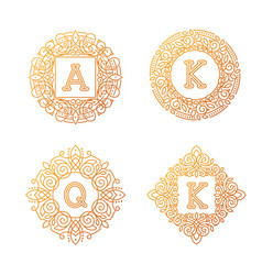 monogram bage logo text letter vector image vector image