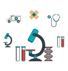 set microscope services medical isolated vector image