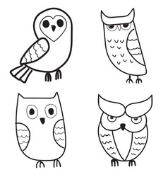 set of cute hand drawn owls vector image
